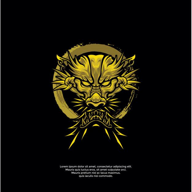 金色龙头logo图案golden-dragon-head-logo-template插图