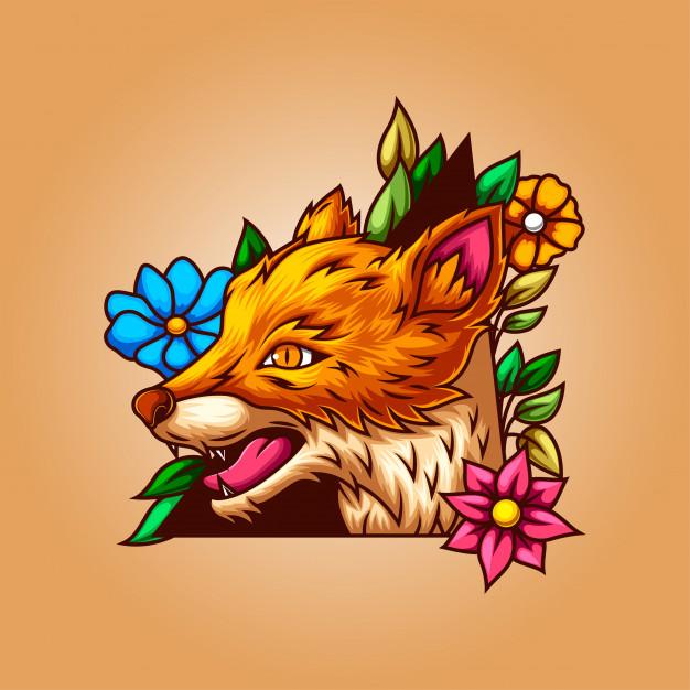 花朵绿叶框架的狼插图插画Illustration of a wolf with a leafy frame Premium Vector插图