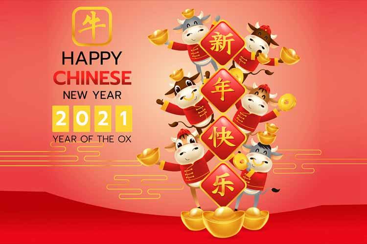 2021年中国农历新年牛年红色中国传统服饰黄道十二宫符号卡通插图插图