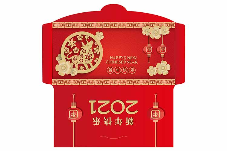 中国农历新年2021年红色信封包装插图