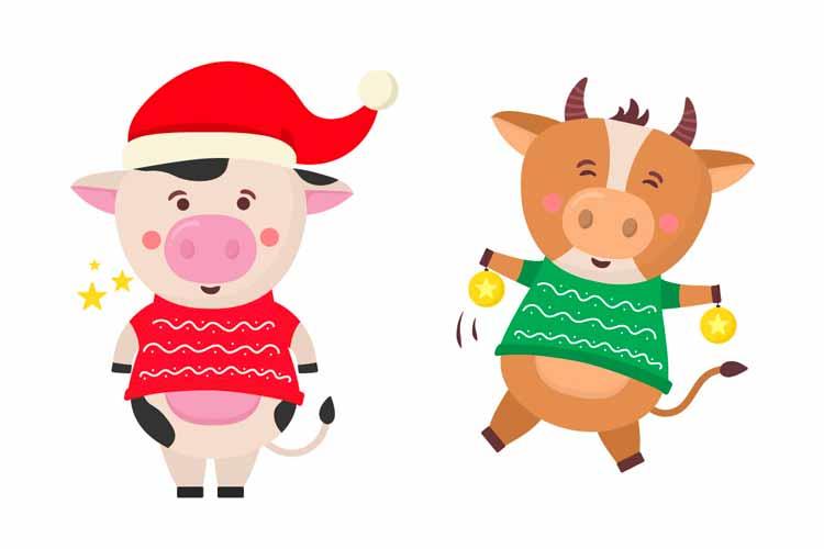中国农历新年2021年牛形插画形象插图